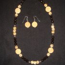 Faceted Smokey Quartz.. with bone beads