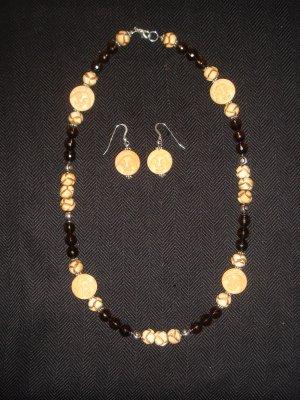 Faceted Smokey Quartz.. with bone beads