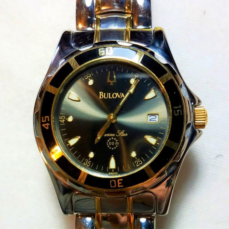 Bulova Marine Star Two-Tone Mens Quartz Watch 98G05. Working Perfectly