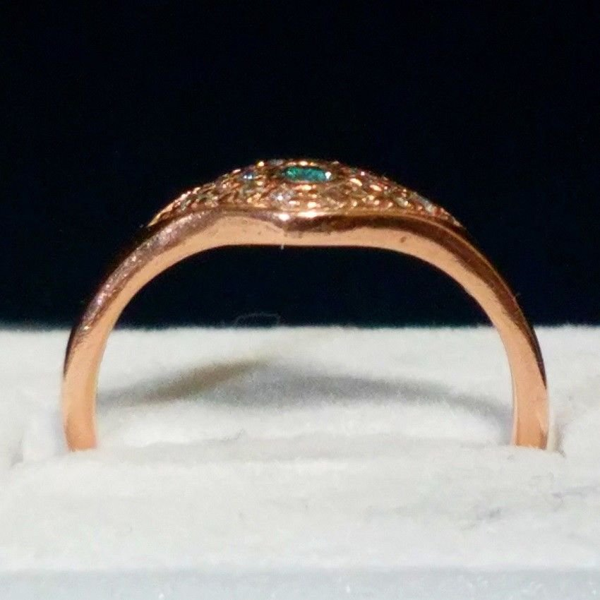 ANTIQUE 14k ROSE GOLD w/WHITE & BLUE DIAMONDS. PRICE REDUCTION CLEARANCE