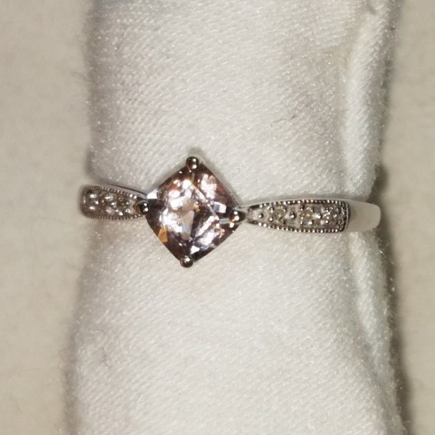 RARE SOLID 10k White Gold Tourmaline with Diamond Accents Ring SIZEABLE