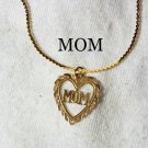 "18 1/4"" Solid 14k Yellow Gold Necklace & 14K Yellow Gold MOM Heart Pendant."