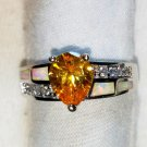 GORGEOUS  LAB CREATED CITRINE, OPAL & CZ SIZE 8 STERLING SILVER  RING