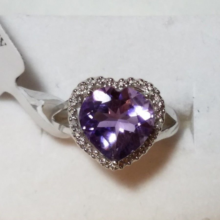 2.95 CARAT AMETHYST w/Diamond Accents NEW with TAGS NATURAL EARTH MINED Size 7