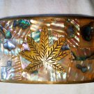 Best HECHO EN MEXICO Cannabis Leaf Abalone Belt Buckle Awesome Craftsmanship