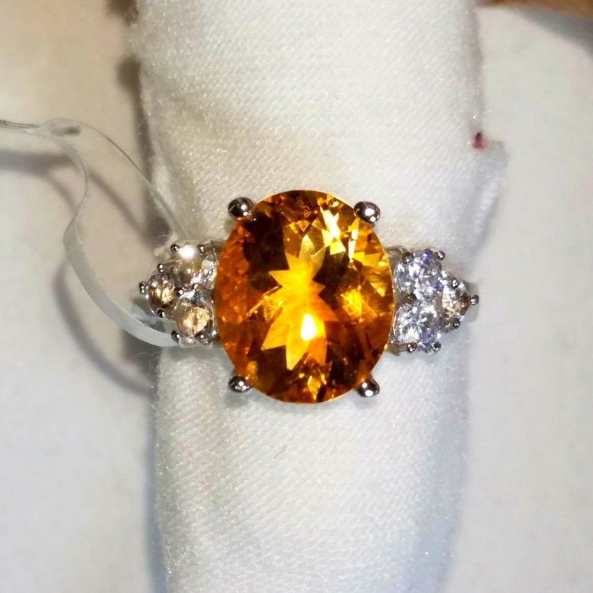 NATURAL 3.5ct Oval Citrine w/White Topaz Accents NEW with TAGS COCKTAIL RING