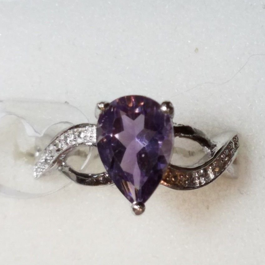 2 CARAT AMETHYST w/Diamond Accents NEW with TAGS NATURAL EARTH MINED Size 7