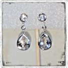 BEST STUNNING NEW 925 Sterling Silver Bezel Set SAPPHIRE & DIAMOND Drop Earrings
