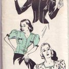 "40s Fitted Blouse in 3 Styles Sewing pattern. Bust 40"" Sewing Pattern. Reproduction"