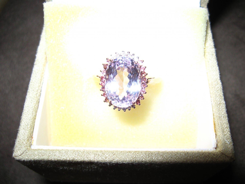 Stunning 8.04 carat Kunzite 10k rose gold ring, tourmaline, topaz accents size 10