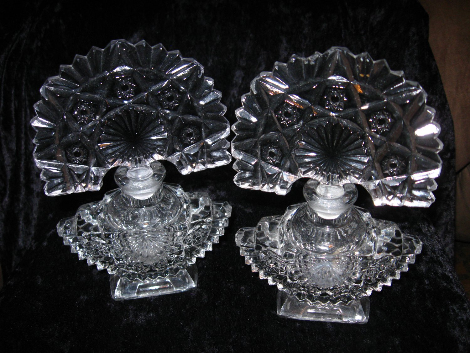 Massive pressed glass perfume bottles with fan daubers, Art Deco