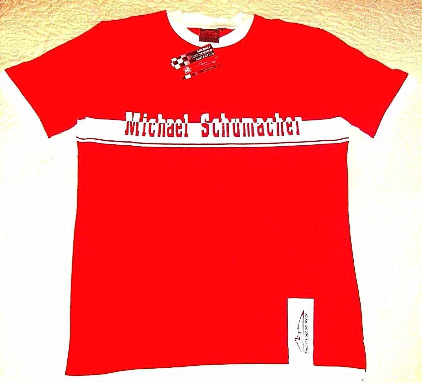 MICHAEL SCHUMACHER T-SHIRT, WITH LETTERING & LOGO RED/WHITE SIZE L- LARGE , NEW