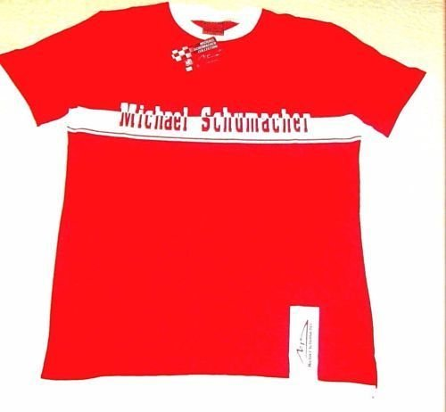 MICHAEL SCHUMACHER T-SHIRT WITH LETTERING & LOGO RED/WHITE SIZE M- MEDIUM , NEW