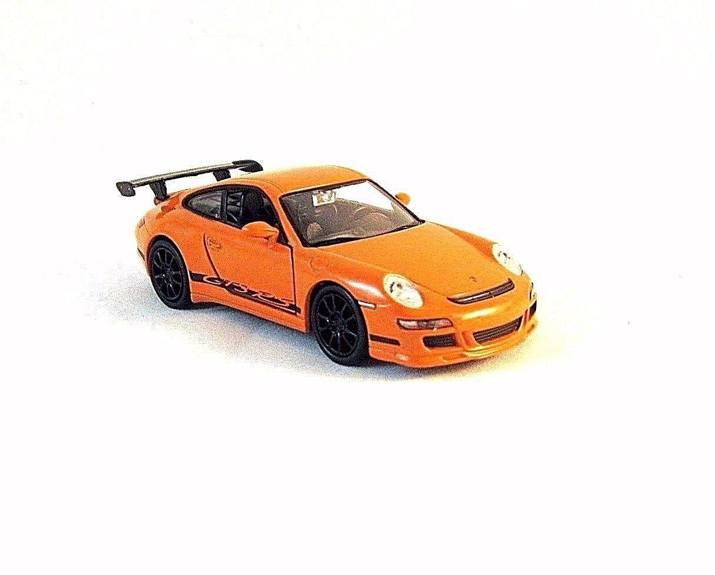 PORSCHE 911 (997) GT3 RS WELLY 1/34 ORANGE DIECAST CAR COLLECTOR'S MODEL, NEW