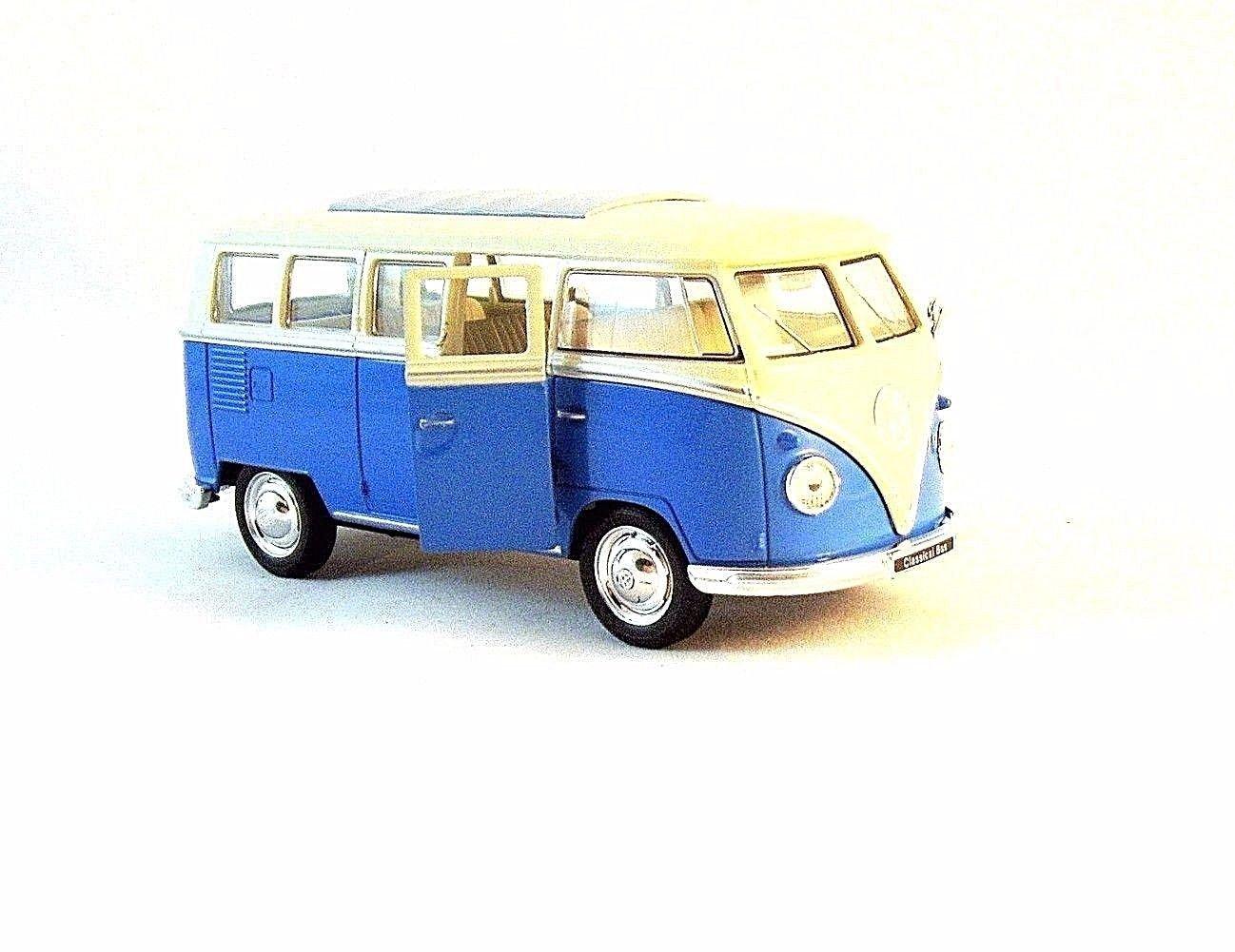 1963 VOLKSWAGEN T1 BUS METALLIC BLUE, WELLY 1/32 DIECAST CAR COLLECTOR'S MODEL