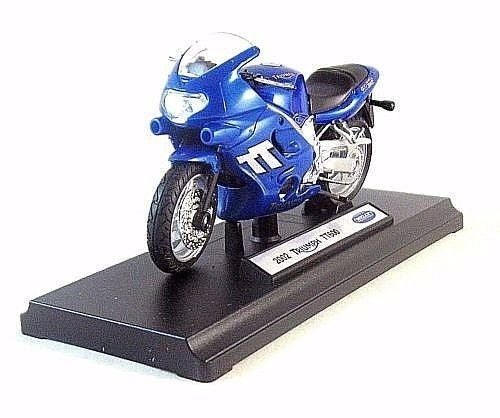 TRIUMPH TT600,2002 METALLIC BLUE WELLY 1/18 DIECAST MOTORCYCLE COLLECTOR'S MODEL