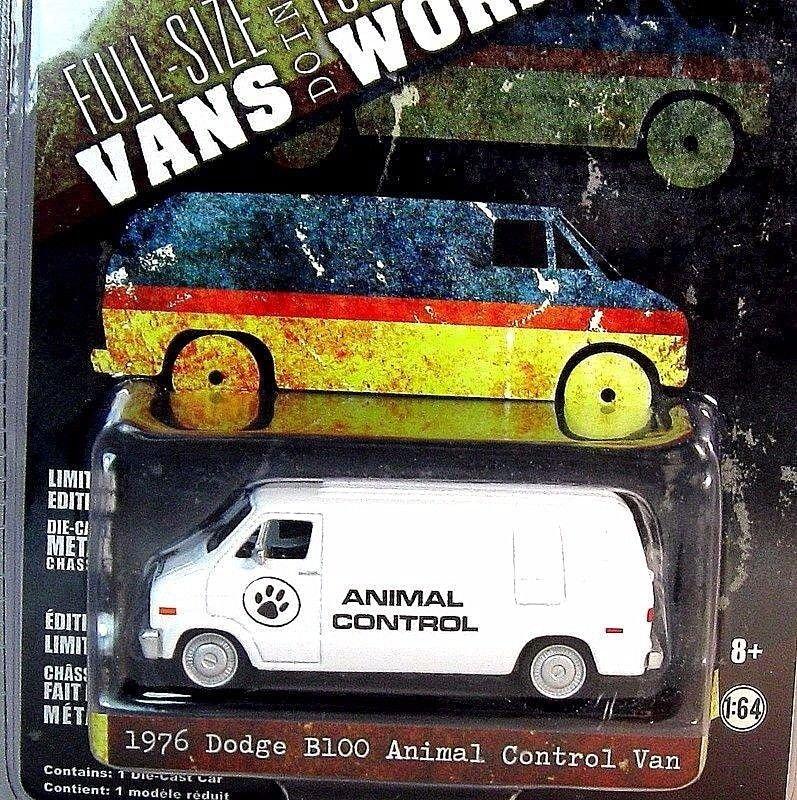 DODGE B100 ANIMAL CONTROL VAN, LIMITED EDITION GREENLIGHT 1/64 DIECAST CAR MODEL