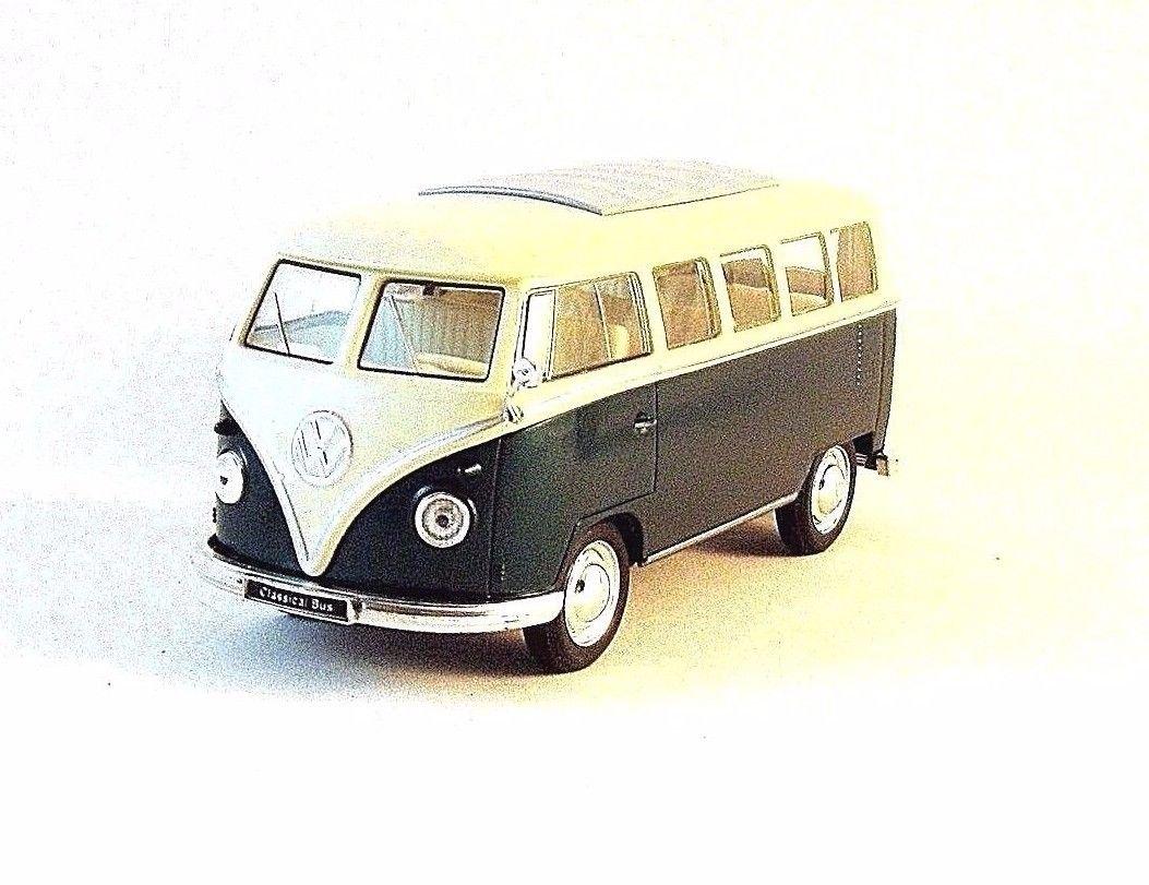 1963 VOLKSWAGEN T1 BUS , DARK GREEN WELLY 1/32 DIECAST CAR COLLECTOR'S MODEL,NEW