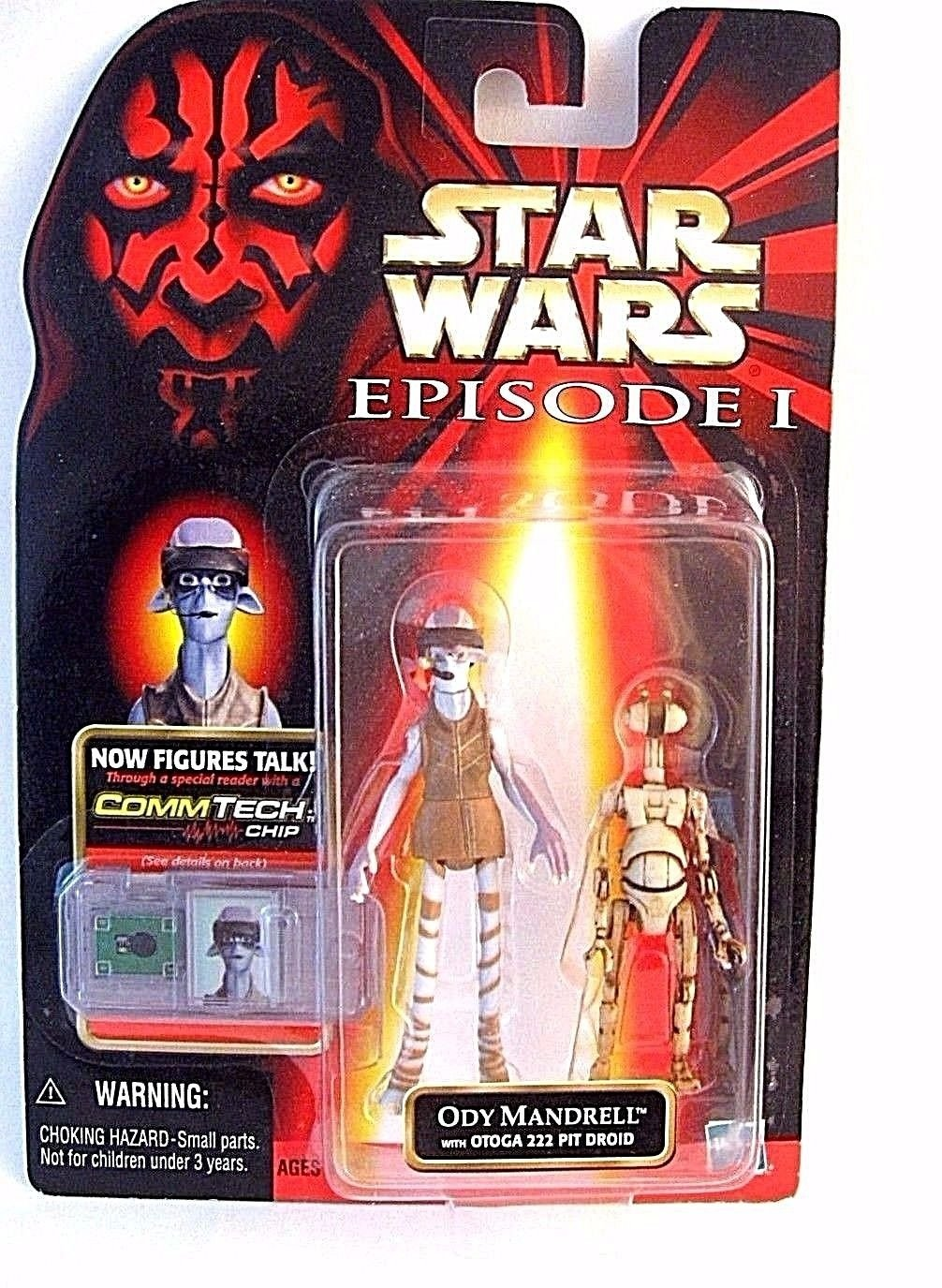 STAR WARS CARDED ODY MANDRELL C-7/8 WITH OTOGA 222 PIT DROID+COMM TECH CHIP,NEW