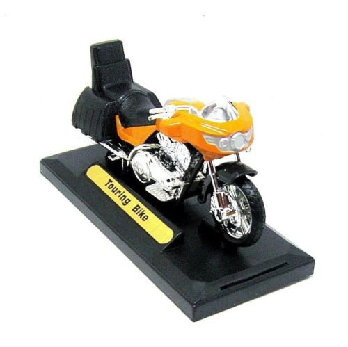 TOURING BIKE, ORANGE MOTORMAX 1:18 DIECAST MOTORCYCLE COLLECTOR'S MODEL, NEW