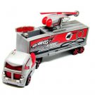 TRUCK+HELICOPTER, (TRUCK CARRYING HELICOPTER) SILVER/RED HOTWHEELS