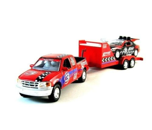 SET*2 CAR MODELS+TRAILER,FORD F-150/FORD MUSTANG RED/BLACK REALTOY