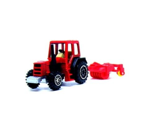 FARM TRACTOR WITH PLOW , RED WELLY TRACTOR COLLECTOR'S MODEL, NEW