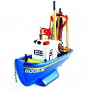 TURKISH FISHING BOAT BLUE/WHITE, CLAY HANDBUILT NAUTICAL MODEL