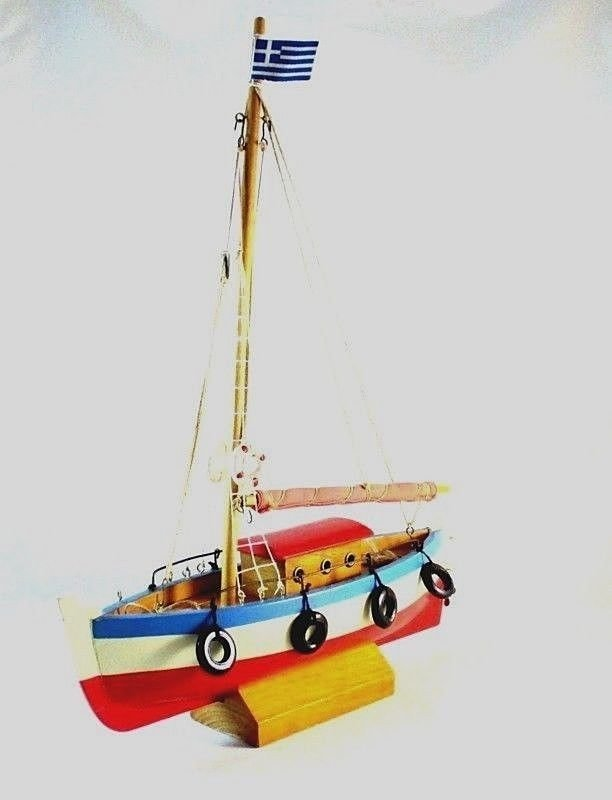 GREECE SAILBOAT RED/WHITE/BLUE, BIG WOOD SAILBOAT, NAUTICAL COLLECTOR'S MODEL