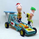 PHINEAS AND FERB CAR MODEL + 2 FIGURES, DISNEY
