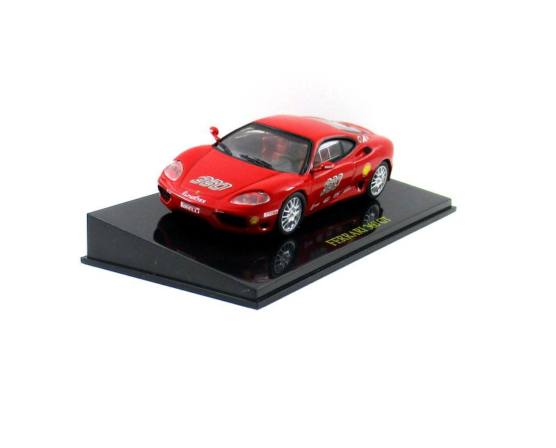 FERRARI 360 GT + SHOWCASE, RED ALTAYA 1:43 DIECAST CAR COLLECTOR'S MODEL