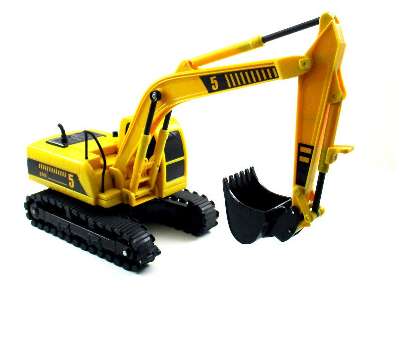 EXCAVATOR LOADER YELLOW CONSTRUCTION VEHICLE, MOVING PARTS