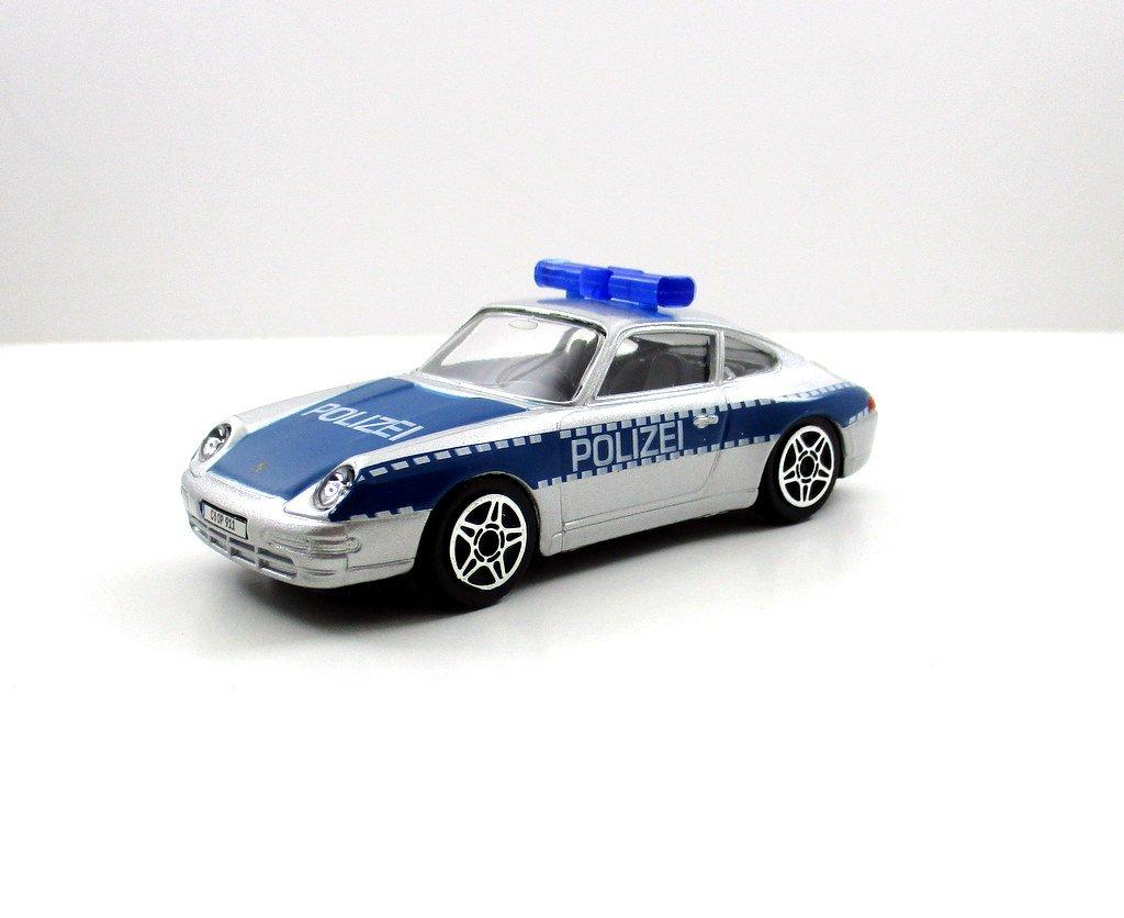 PORSCHE 911 CARRERA POLICE CAR SILVER BURAGO 1:43 DIECAST CAR COLLECTOR'S MODEL