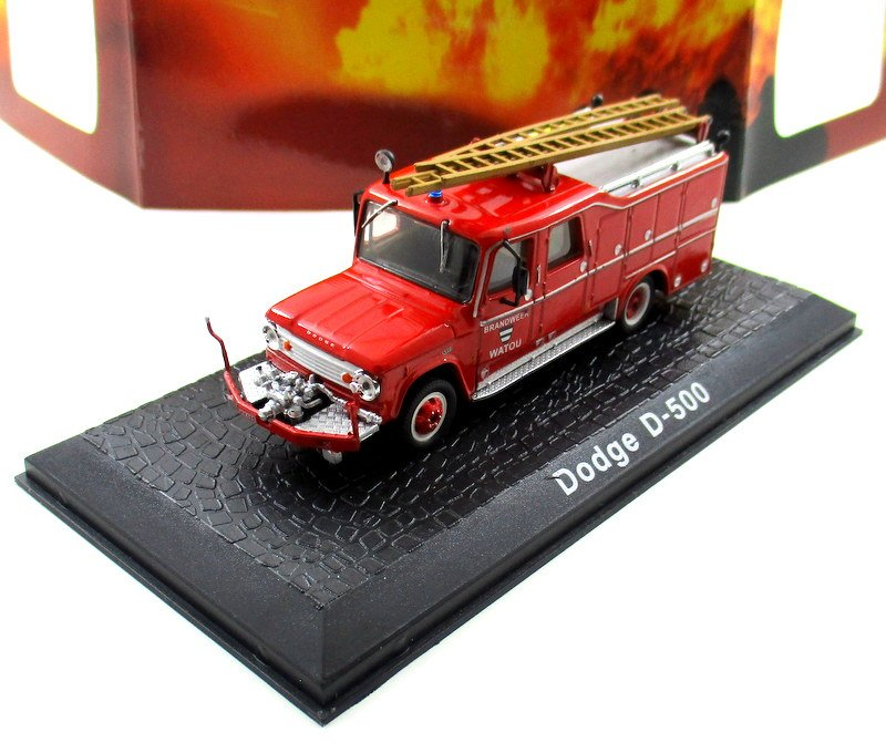 FIRE DEPARTMENT DODGE D-500 WATOU 1958, RED ATLAS SCALE 1:72 FIRE TRUCK MODEL