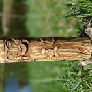 Small Handcrafted Wooden Figurine of Loki in Dark Stain from Norse (Scandinavian) Mythology