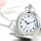 Free Photo/Text Customized Engraving Men's Silver-Tone Polished Covered Quartz Pocket Watch with 32