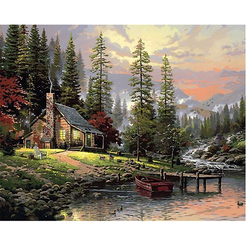 House near the river DIY Acrylic Paint by Numbers kit