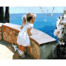 Child on ocean landscape DIY Acrylic Paint by Numbers kit