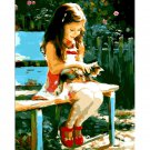 Girl and a kitten DIY Acrylic Paint by Numbers kit