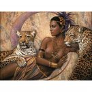 African Lady with leopards DIY Acrylic Paint by Numbers kit