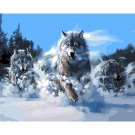 Running wolves in snow DIY Acrylic Paint by Numbers kit