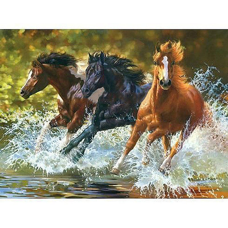 Three horses in the water DIY Acrylic Paint by Numbers kit