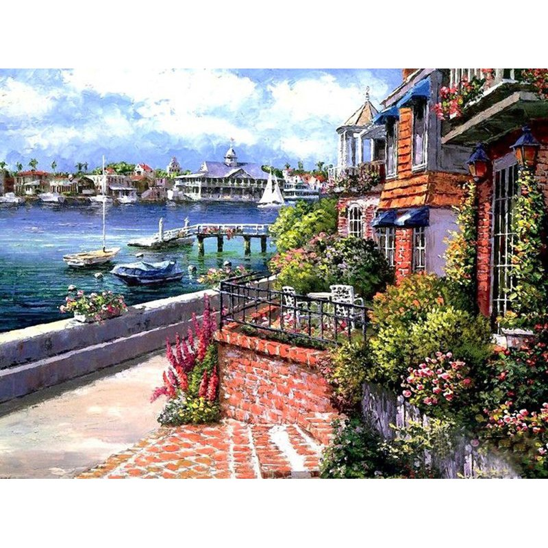 Resort city DIY Acrylic Paint by Numbers kit