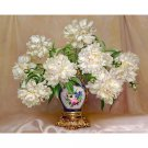 White flowers in vase DIY Acrylic Paint by Numbers kit