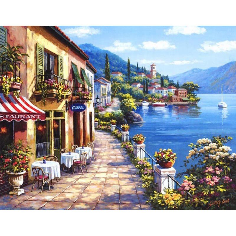 Cafe on a lake shore DIY Acrylic Paint by Numbers kit