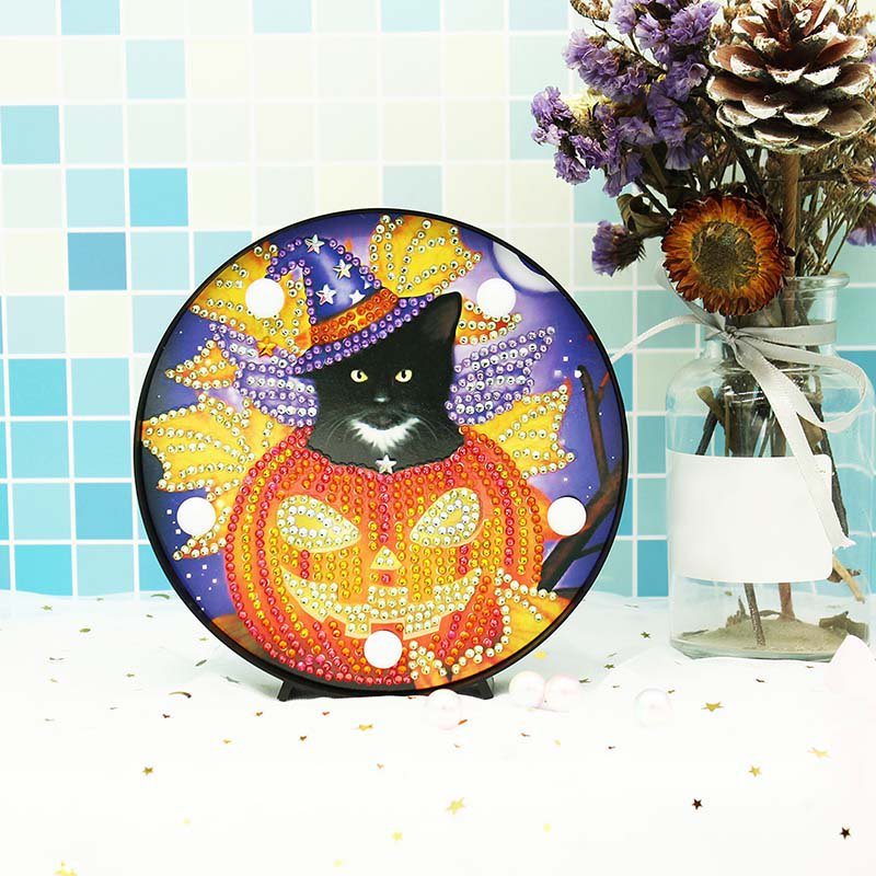 Halloween Kitty Paint by Diamond DIY LED Lamp Kit