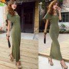 Green or BlackBat Wing Backless Knit Dress Maxi Lengtth NWT