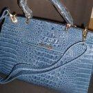 Croco Texture Two Tone Blue Leather Like Handbag NWT