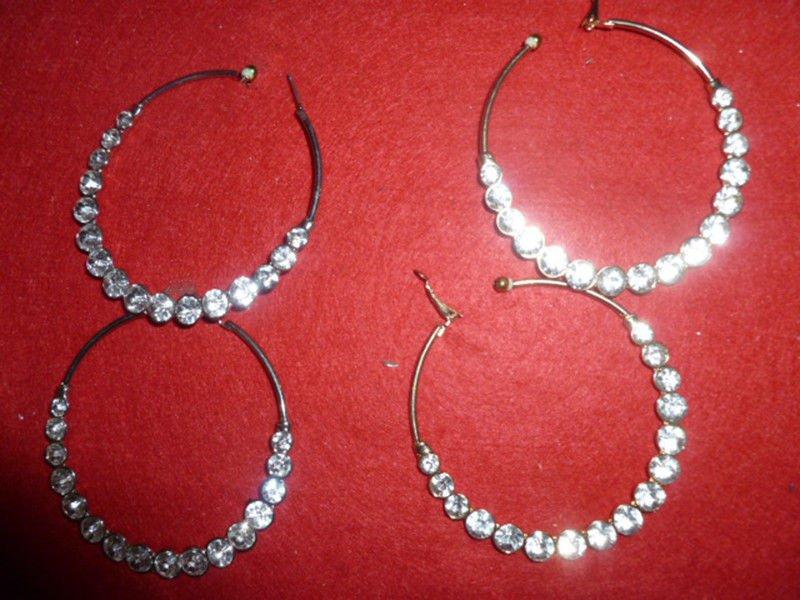 Multi Size Rhinestone Gold tone or Silver Tone Hoops Clip-On Hoop Earrings NWT