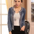 Small Denim Jackets Outerwear Coats Classical Rhinestone Sequins